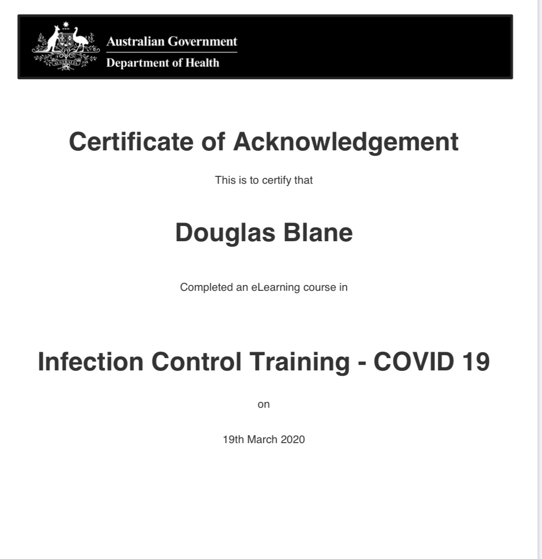 Infection Control Training Certificate - Douglas